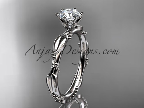 """Platinum diamond vine and leaf wedding ring with a """"Forever One"""" Moissanite center stone ADLR178"""