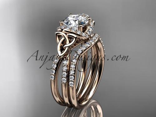 Rose Gold Celtic Wedding Ring Triquetra Bridal Ring Set CT7155S