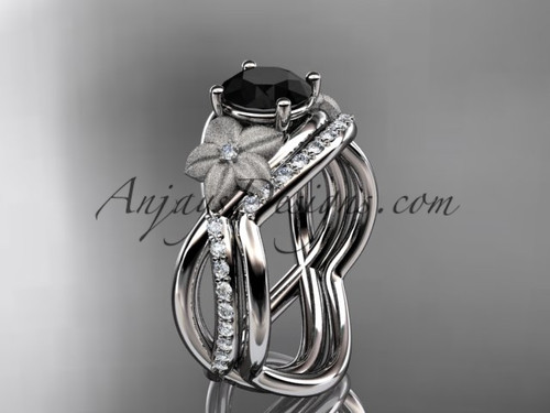 14k white gold diamond leaf and vine wedding ring, engagement set with a Black Diamond center stone ADLR90S