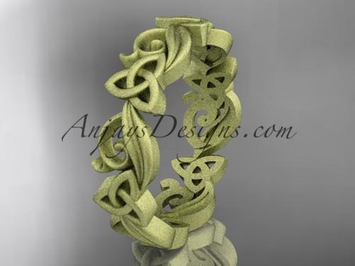 Celtic Wedding Band Yellow Matte Finish Gold Ring CT7191B