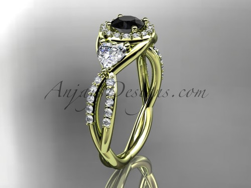 14kt yellow gold diamond engagement ring, wedding ring with a Black Diamond center stone ADLR321