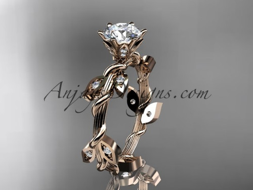 Rose Gold Diamond Leaf and Vine Ring Nature inspired jewelry ADLR20