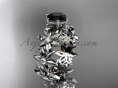 Platinum Black Diamond Flower Unique Engagement Ring ADLR339