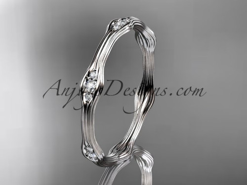 14k white gold diamond vine wedding band, engagement ring ADLR21AB