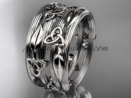 14kt white gold diamond celtic trinity knot wedding band, engagement ring CT7242B
