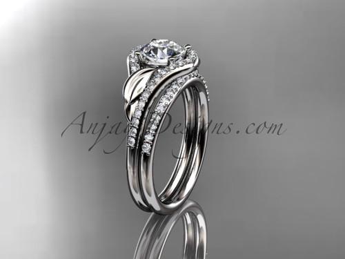 "14kt white gold diamond leaf wedding set, engagement set with a ""Forever One"" Moissanite center stone ADLR334"
