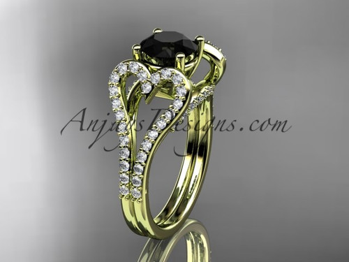 14kt yellow gold heart  engagement ring, wedding ring with a Black Diamond  center stone ADER395