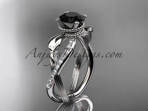 Black Diamond Platinum Flower Wedding Ring ADLR70