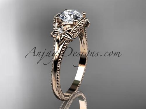 Moissanite center Rose Gold Flower Wedding Ring ADLR375