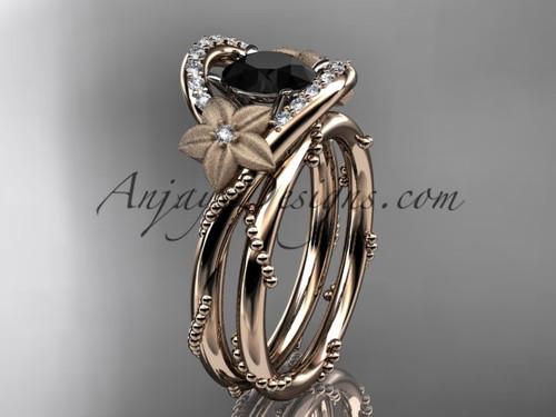 Flower Bridal Set Rose Gold Black Diamond Ring ADLR166S