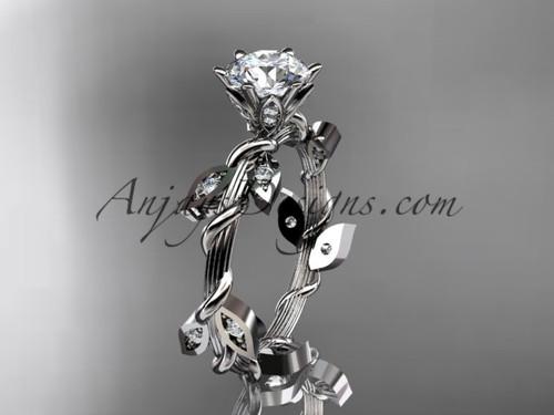 14kt white gold diamond leaf and vine wedding ring,engagement ring ADLR20