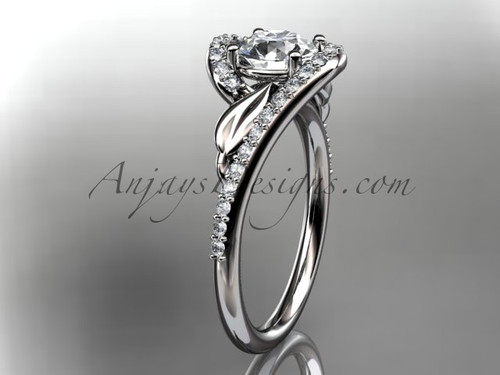 "14k white gold diamond leaf and vine wedding ring, engagement ring with a ""Forever One"" Moissanite center stone ADLR317"