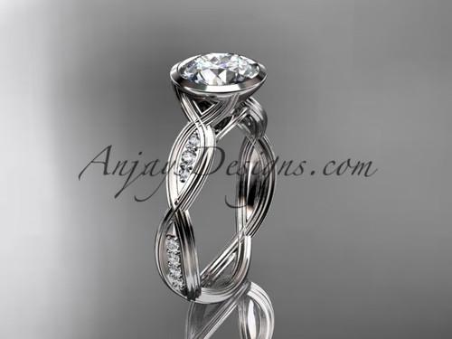 "Platinum diamond wedding ring,engagement ring with  ""Forever One"" Moissanite center stone ADLR24"