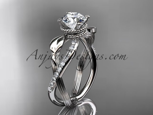 Flower Engagement Ring - White Gold Leaf Ring ADLR70