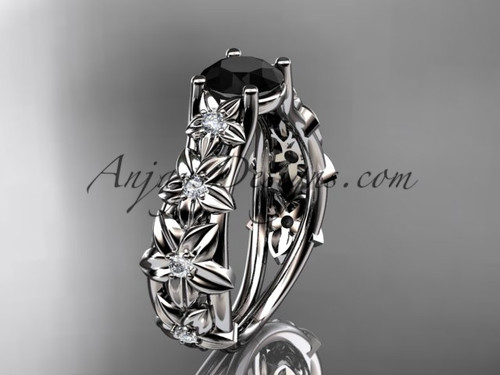 14kt white gold diamond floral wedding ring, engagement ring with a Black Diamond center stone ADLR149
