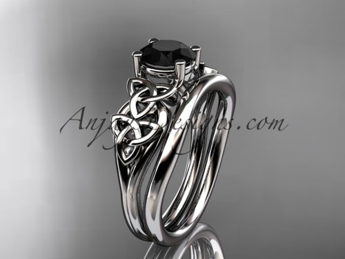 14kt white gold celtic trinity knot wedding ring, engagement set with a Black Diamond center stone CT7169S