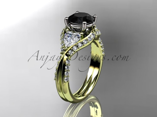 Unique 14kt yellow gold diamond wedding ring, engagement ring with a Black Diamond center stone ADLR319