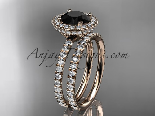 14kt rose gold diamond unique wedding ring, engagement set with a Black Diamond center stone ADER106S