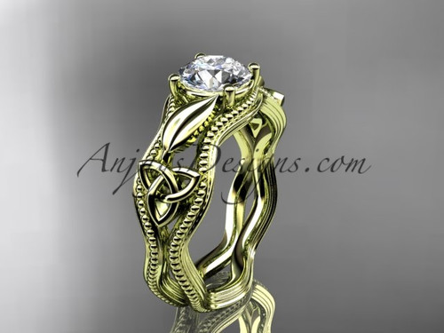 Celtic Triquetra Moissanite  Engagement Ring, Yellow Gold Irish Wedding Ring CT7382