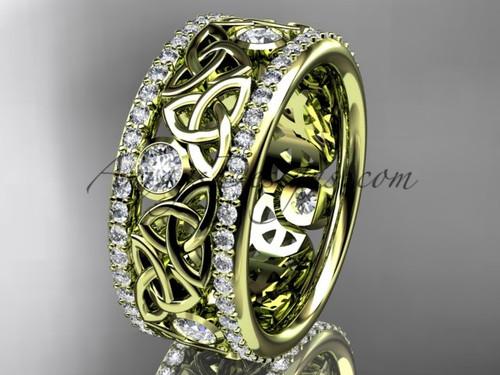 14kt yellow gold celtic trinity knot wedding band, diamond wedding band, engagement ring CT7239B