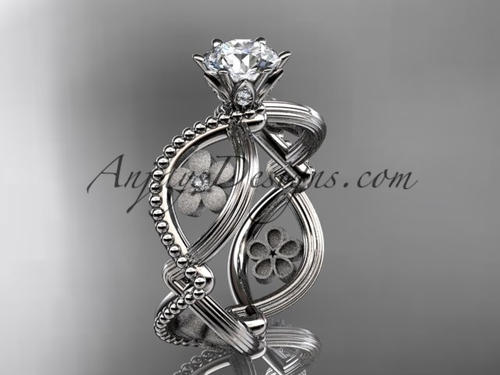 14kt white gold diamond floral wedding ring, engagement ring ADLR192