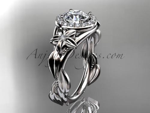 Platinum diamond unique leaf and vine, floral engagement ring ADLR327