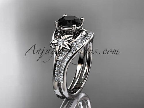 platinum diamond floral wedding set, engagement set with a Black Diamond center stone ADLR125S