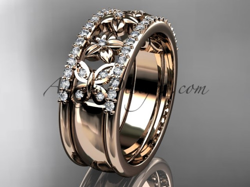 Flower Wedding Bands Rose Gold Butterfly Proposal Rings ADLR500B