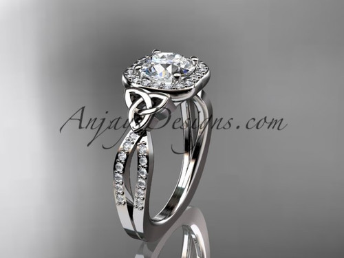 """14kt white gold diamond celtic trinity knot wedding ring, engagement ring with a """"Forever One"""" Moissanite center stone CT7393"""