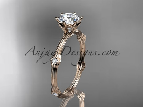 Vine Engagement Ring - Rose Gold Moissanite Ring ADLR38