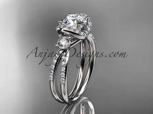 """14kt white gold diamond unique engagement ring, wedding ring with a """"Forever One"""" Moissanite center stone ADER146"""