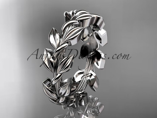 Unique Engagement rings White Gold Leaf Wedding Ring ADLR120G