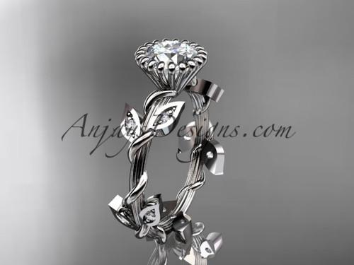 Diamond Leaf and Vine Ring, Platinum Engagement Ring ADLR20A