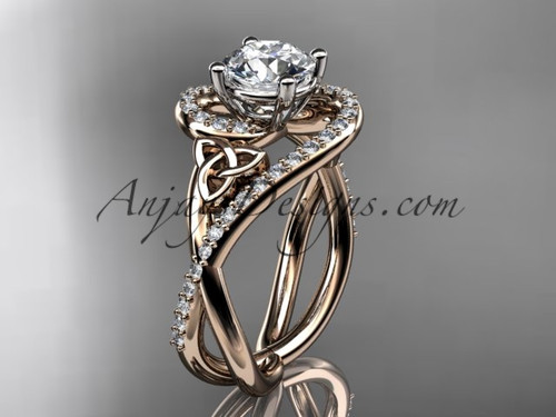 "14kt rose gold diamond celtic trinity knot wedding ring, engagement ring with a ""Forever One"" Moissanite center stone CT7320"
