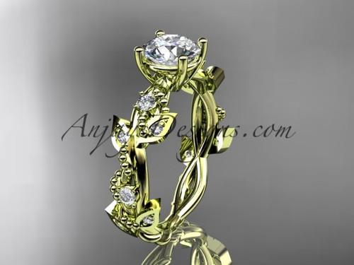 14kt Yellow Gold Diamond Leaf & Vine Engagement Ring ADLR59