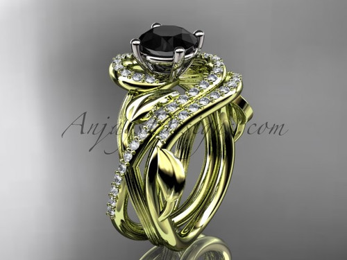 Unique 14kt yellow gold diamond leaf and vine wedding set, engagement set with a Black Diamond center stone ADLR222S