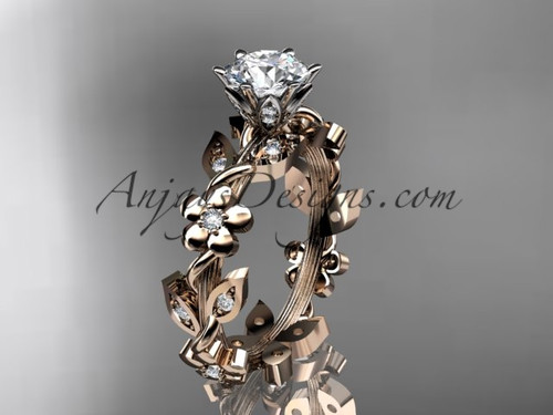 14kt rose gold diamond leaf and vine engagement ring ADLR209