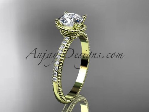 """14kt yellow gold diamond unique engagement ring, wedding ring with  """"Forever One"""" Moissanite center stone ADER86"""
