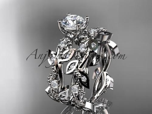 "Platinum diamond leaf and vine wedding ring, engagement set with  ""Forever One"" Moissanite center stone ADLR59S"