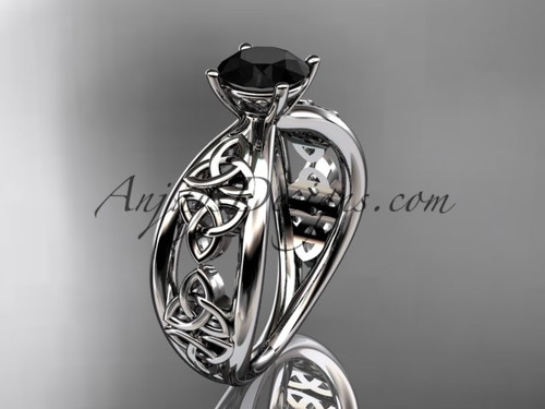 platinum celtic trinity knot wedding ring, engagement ring with a Black Diamond center stone CT7171