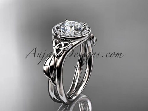 """platinum diamond celtic trinity knot wedding ring, engagement ring with a """"Forever One"""" Moissanite center stone CT7314"""