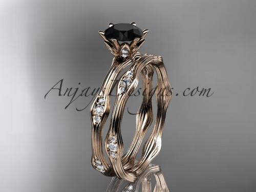 14kt rose gold diamond wedding ring, engagement ring, engagement set with a Black Diamond center stone ADLR132S
