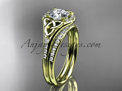 """14kt yellow gold diamond celtic trinity knot wedding ring, engagement set with a """"Forever One"""" Moissanite center stone CT7126S"""