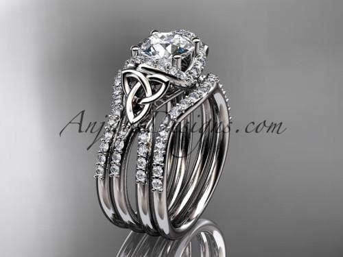 Matching Wedding Band Sets Platinum Celtic Bridal Ring CT7155S