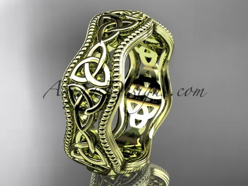 Celtic Knot Wedding Bands Yellow Gold Irish ring CT750B