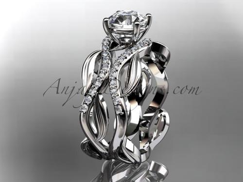 "Platinum diamond leaf and vine wedding set, engagement set with a ""Forever One"" Moissanite center stone ADLR264S"