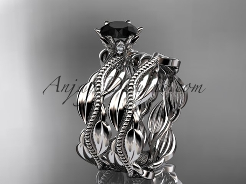 platinum leaf and vine engagement ring, wedding set with a Black Diamond center stone ADLR258S