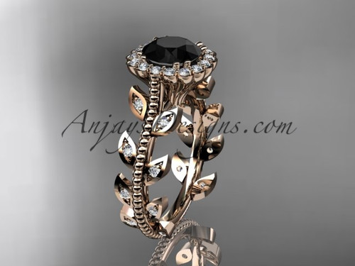 14k rose gold diamond leaf and vine wedding ring, engagement ring with a Black Diamond center stone ADLR118