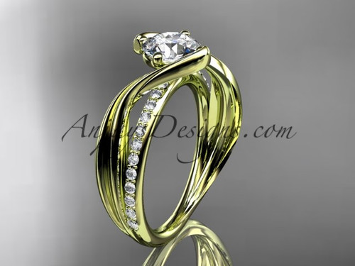 """14kt yellow gold diamond leaf and vine wedding ring, engagement ring with  """"Forever One"""" Moissanite center stone ADLR78"""