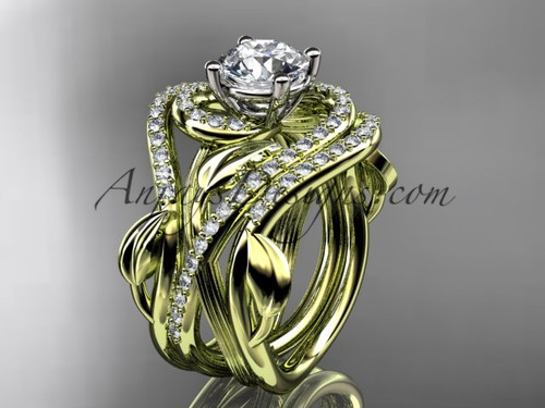 Gold double matching banded flower engagement ring ADLR222S